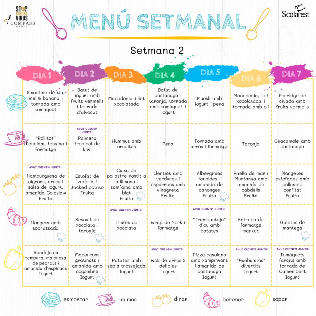 Menú Setmanal del 28 de març al 3 d'abril
